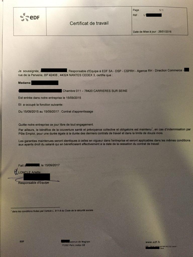 20201217094524 768x1024 - 法国工作证明翻译认证盖章(法语译中文)