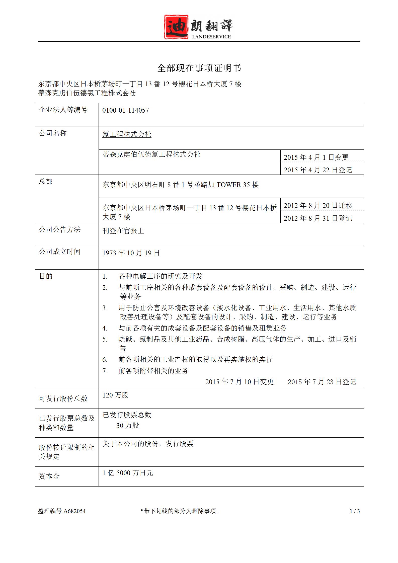 210526 营业执照 UCEJ to 迪朗jp 译文 01 - 日本营业执照(全部事项证明书)翻译认证盖章